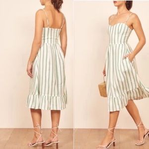 "Reformation ""Eileen"" Print Midi Sundress Striped"